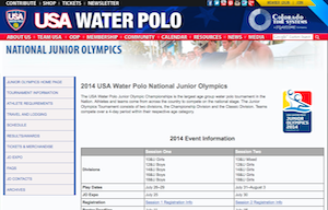 Junior Olympics Website Screenshot